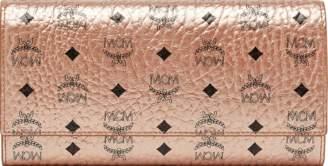MCM Three Fold Wallet Visetos Large Champagne Gold