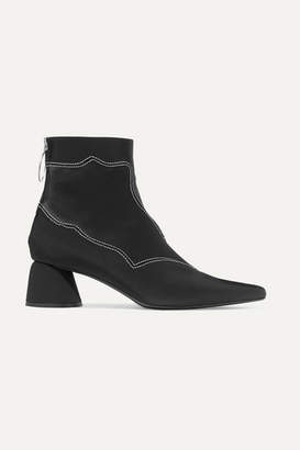 Ellery Embroidered Stretch-faille And Satin Ankle Boots - Black