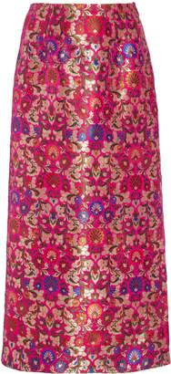 Prabal Gurung Floral Metallic Brocade Midi Skirt Size: 0