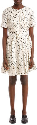 Diane von Furstenberg Short Sleeve Cinched Waist Belted Dress