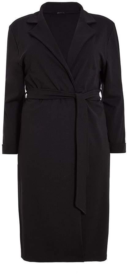 Curve Black Tie Waist Jacket