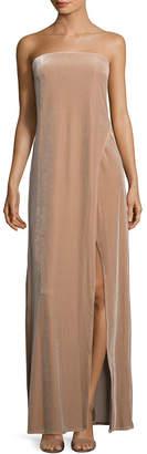 ABS by Allen Schwartz Velvet Strapless Slit Gown