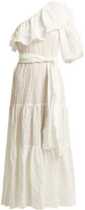 Lisa Marie Fernandez Arden one-shoulder cotton-blend seersucker dress