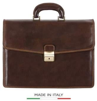 eb4ca0c5d4162 Alberto Bellucci Italian Leather Vernio Single Compartment Briefcase Dark  Brown