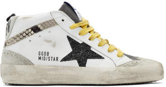 Golden Goose White and Grey Snake Mid Star Sneakers
