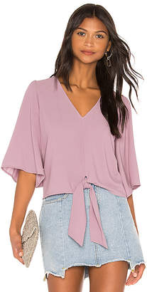 1 STATE Flounce Sleeve Tie Front V Neck Blouse