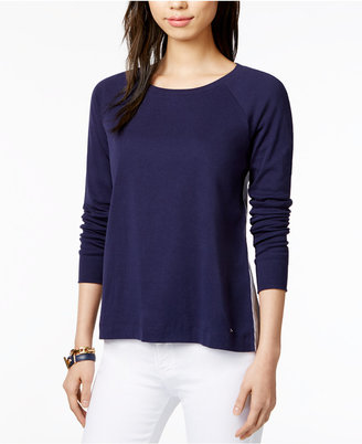 Tommy Hilfiger Cotton Mixed-Media Top, Only at Macy's $59.50 thestylecure.com