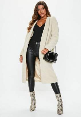 Missguided Cream Collarless Teddy Coat, Stone