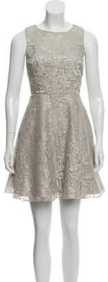 Alice + Olivia Lace Mini Dress Grey Lace Mini Dress