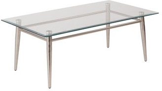 Office Star AVE SIX by Products Brooklyn Rectangle Coffee Table, Nickel Brush/Clear Glass