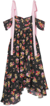 Preen Line Dehebra Floral-print Crepe De Chine And Georgette Midi Dress - Black