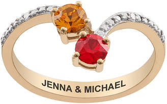 FINE JEWELRY Personalized Womens Diamond Accent Multi Color Crystal 18K Gold Over Silver Round Cocktail Ring