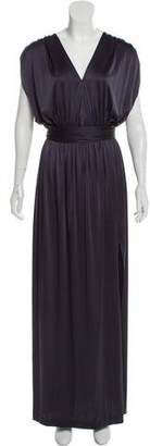 Halston V-Neck Maxi Dress