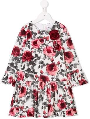 Miss Blumarine rose appliqué dress