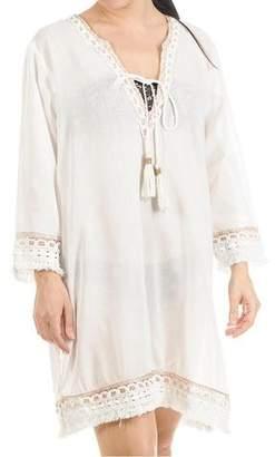 Black White and Bronze Cotton Kaftan Dress