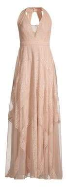 BCBGMAXAZRIA Raissa Striped Lace Halter Gown