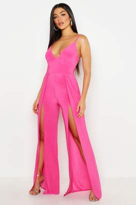boohoo Thigh Split Wide Leg Jumpsuit