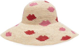 Yestadt Millinery Kisses Patterned Straw hat