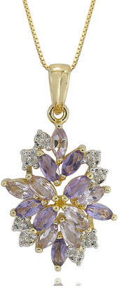 JCPenney FINE JEWELRY 14K Gold over Silver Genuine Amethyst, Genuine Pink Quartz & Lab-Created White Sapphire Pendant Necklace