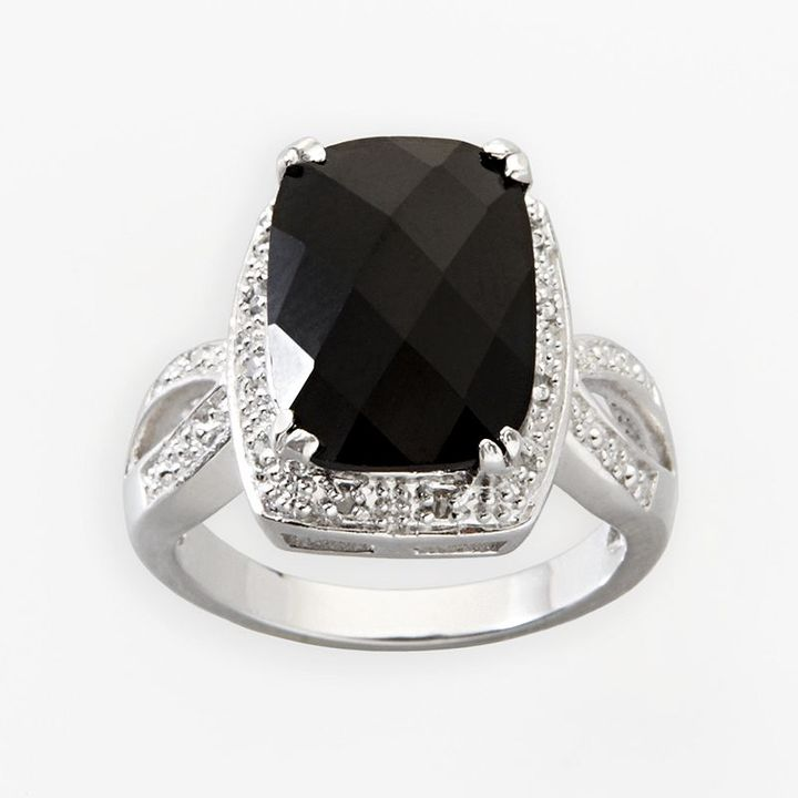 Sterling silver 1/10-ct t.w. diamond and onyx ring