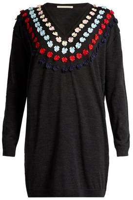Marco De Vincenzo Bow Embellished Wool Sweater - Womens - Grey Multi