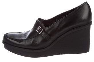 Robert Clergerie Leather Round-Toe Wedges