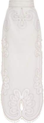 Zimmermann Ninety-Six Silk And Linen-Blend Maxi Skirt