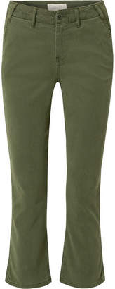 The Great The Trouser Nerd Cropped Flared Twill Pants - Green