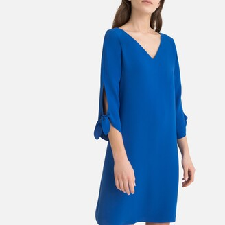 Esprit V-Neck Dress with 3/4 Length Sleeves and Pretty Ties