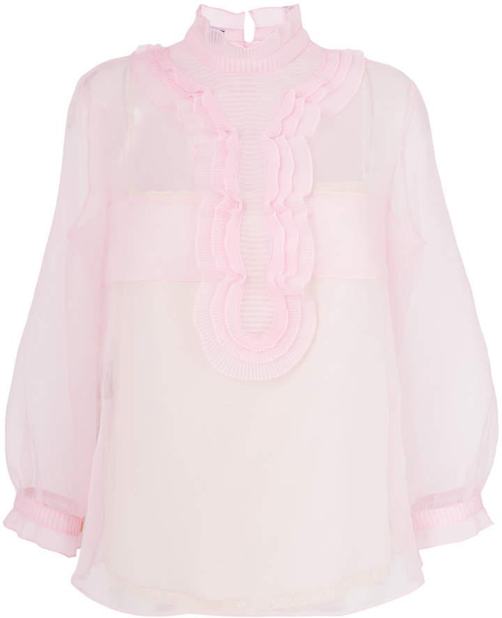 Prada semi-sheer ruffle placket blouse