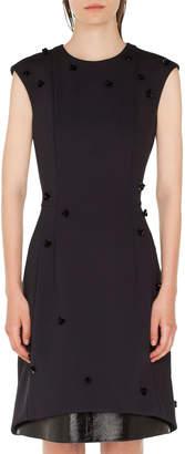 Akris Punto Sequined Leather-Hem Shift Dress