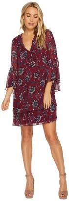 Kensie Folk Floral Chiffon Dress KSNK9878 Women's Dress