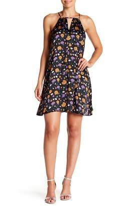 J.o.a. Satin Cutout Floral Mini Dress