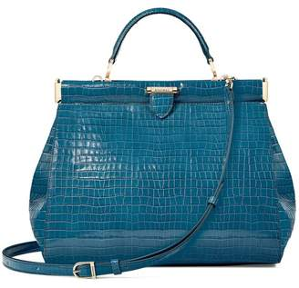 Aspinal of London Large Florence Frame Bag In Deep Shine Topaz Small Croc