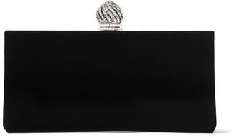 Jimmy Choo CELESTE/S Black Velvet Clutch Bag with Dome Clasp