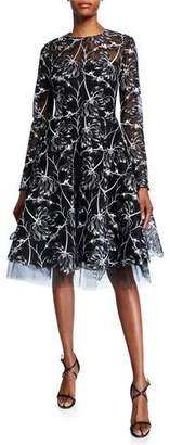 Pamella Roland Floral Lace Mock-Neck Dress