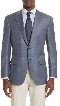 Canali Classic Fit Windowpane Wool Sport Coat