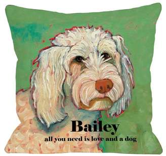 DAY Birger et Mikkelsen Monogrammed Personalized Love and A Poodle Throw Pillow