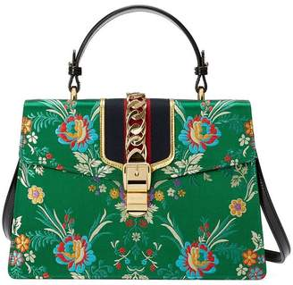 Gucci Sylvie floral jacquard top handle bag