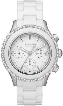 Donna Karan DKNY Watch, Women's Chronograph White Ceramic Bracelet 42mm NY8672