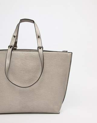 Asos Metallic Structured Shopper Bag With Extendable Handle
