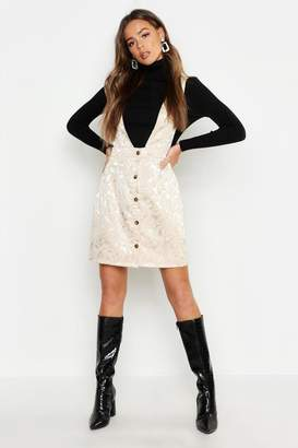 boohoo Satin Jacquard Plunge Front Pinafore Dress