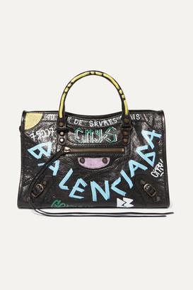 Balenciaga Classic City Printed Textured-leather Tote - Black