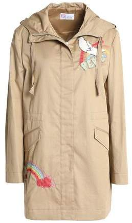 Embroidered Cotton-Gabardine Hooded Jacket