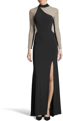 Xscape Evenings Ity Bead Embellished Jersey Gown