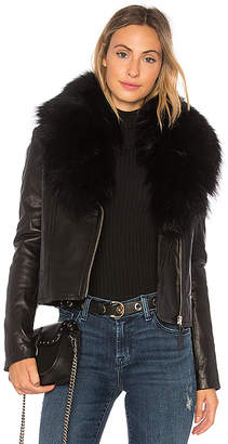 Mackage Yoana Leather Jacket With Fur Trim