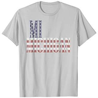 MI Michigan state Flag USA T-shirt Tee Tees T Shirt Tshirt
