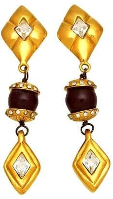 Chanel CC Logo Gold Tone Metal Rhinestone Rhombus Dangle Earrings