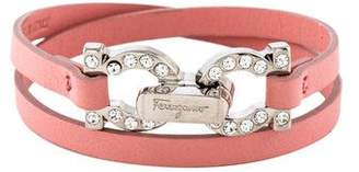 Salvatore Ferragamo Leather & Crystal Double Wrap Bracelet