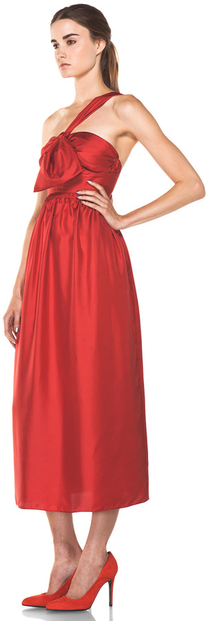 Chloé One Shoulder Silk Bow Dress in Red